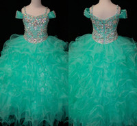Cristaux Menthe Vert Fleur Filles Robes Longues Pageant Toddler Enfants Pour Fille Infantile Pas Cher Glitz Communion De Bal Robes