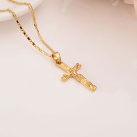 Kolye Kolye 22 K 23 K 24 K Thai Baht Sarı Katı Güzel Altın GF INRI JUSES CRUCIFIX Kadınlar Için Hıristiyanlık Takı