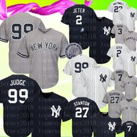 New York Mens Yankees Jersey 99 Aaron Judge 2 # 27 Giancarlo Stanton 24 Gary Sanchez 3 Babe Ruth 7 Maillots de Baseball Mickey Mantle