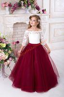 Off The Ramię Kwiat Dziewczyny Suknie Pół Rękawy White Lace Burgundii Tulle Linia Princess Birthday Party Dress Girls Formalna Nosić BC0168