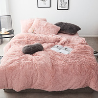 FB1901001 Rosa Branco tecido de lã de inverno de espessura Pure Color cama Set Mink Velvet edredon cobrir Rei Folha de cama Lençois Fronhas