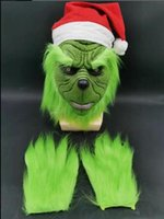Engraçado Grinch roubou o Natal Latex Mask XMAS Costume Party Cosplay cara do carnaval da Grinch luvas máscara GB1550