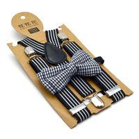Moda bambini Bretelle a strisce ragazzi ragazze banda elastico bretelle + floreale stampato archi cravatta 2 pz set bambini Y-forma cinture regolabili Y2583