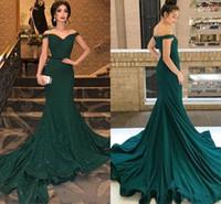 Novo Sexy Árabe Escuro Verde Lantejoulas De Mermaid Vestidos De Noite Off Shoulder Sweep Train Plus Size Mães Off Bride Dresses Vestidos De Prom Festa Vestidos