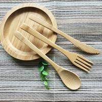 Stoviglie da tavola di legno stabilite del coltello di forcella del cucchiaio di bambù 100% di bambù di Airchr del nuovo arrivo di trasporto libero