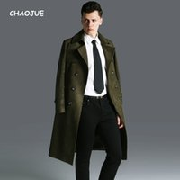 CHAOJUE Fall Winter Long Suede Trench for man England Slim F...