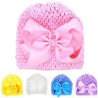 حار بيع جديد الأطفال الطفل تمتد العمامة bowknot قبعات القبعات عصابات أطفال بنات رئيس التفاف أغطية الرأس اكسسوارات للشعر