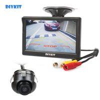 """DIYKIT LCD de 5"""" Vista posterior del monitor + Copia de seguridad trasero Front Side View Cam para el sistema de ayuda al aparcamiento"""