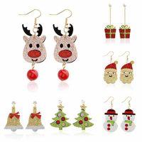 Noël Glitting renne du Père Noël arbre bonhomme de neige Cadeaux Dangle Boucles d'oreilles pour femmes filles mode d'or à longue chaîne Tassel Boucles d'oreilles pendantes
