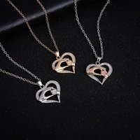 Kimter Love Heart Pendant Necklace Mother and Child In Hand Necklaces Chains Mother's Day Gift Jewelry Accessories 3 Styles X49FZ A