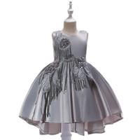 Довольно серое небесно-голубое охотничье розовое платье для девочек; платья для девочек-цветочниц. Платья для принцессы. Детская юбка на заказ 2-14 H313263
