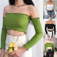 Blusa sin mangas elástica de manga larga casual para mujer Camisa de blusa de verano con hombros descubiertos