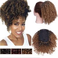 Afro Kinky bouclés queue de cheval Extension Chignon court Afro Curly Extensions de cheveux humains Puff Drawstring Ponytail Black Coffee Brown Femmes