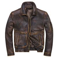 2019 Vintage Brown Hommes américain Pilot Veste en cuir grande taille XXXXL véritable peau de vache Manteau Printemps LIVRAISON GRATUITE
