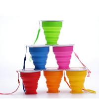 Taça de viagem de Aço Inoxidável Silicone Copos de Dobramento Retrátil Telescópica Dobrável Copos De Café Esporte Ao Ar Livre Copo de Água