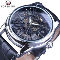 Forsining Resmi Münhasır Satış Roman Avrupa Retro Dalga Tasarım Klasik Şeffaf Erkek Otomatik Saatler Top Marka Lüks