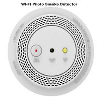 كاشف إنذار الدخان اللاسلكي مع 1080P SMART WIFI صور إنذار الكاميرا عن بعد إعلان صوتي مؤشر LED