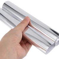 30cm 40cm 50cm 60cmの柔軟な光沢のミラークロムシルバービニールのラップフィルムホイルのステッカーバブルフリーカーデカールコンピューターカバー電話