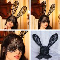2020 Новейшие 2 цвета Креативный костюм Halloween Party кролика уши кролика оголовье с кружевом Eye Mask Black Sexy кружева партии маска