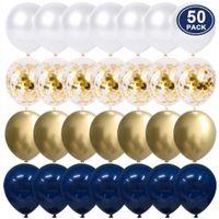 50pcs 12 pollici Metallic Gold White Pearl palloncini Baby Shower Matrimonio festa di compleanno Navy Blue Confetti Gold lattice Balloon Decor Kid