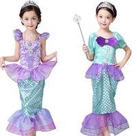 여자 작은 인어 공주 드레스 코스프레 의상 아이들을위한 아기 소녀 인어 드레스 어린이 할로윈 의류 인어 드레스 LJJK2027