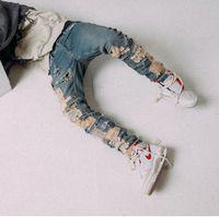 Couleur bleu 2020ss en stock Les meilleurs hommes hip hop nouvelle version hommes nouveaux Détruits Skinny Jeans