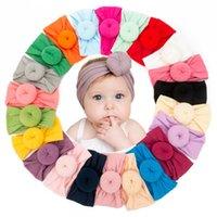 Baby Mädchen Knoten Ball Haarband Böhmische Kleinkinder Stirnbänder Neugeborene Kleinkinder Haarbänder Nylon Kopf Wrap Turban Boutique Haarschmuck D3502