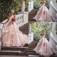 2019 블론쉬 핑크 웨딩 드레스, 리본 아가씨 레이스 페어웨이 우드 단조 웨딩 드레스 Boho Bridal Gowns robes de mariée