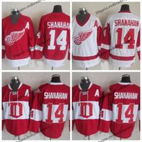 Homens Detroit Red Wings # 14 Brendan Shanahan clássico uma mancha branca Home Jersey Vintage Red Brendan Shanahan costurado Hockey Jerseys baratos