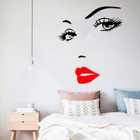 섹시한 속눈썹과 붉은 입술 벽 스티커 거실 침실 배경 장식 데칼 벽지 손 조각 스티커