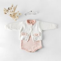 INS 새 아기 소녀 의류 등반 장난 꾸러기 긴 소매 니트 코트 100 % 코튼 여자 아이 장난 꾸러기 세트 0-2T