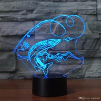 3D Creative Home Decor 7 mudam de cor Pesca Modelando Presentes USB LED Lamp Table Visão Peixe LAMPARAS crianças dormindo Night Lights