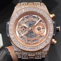 Marca 411.WX.9004.LR.9904 Branco Esqueleto Dial Power Reserve Japão VK Quartz Chronograph Mens Watch Rose Gold Diamond Caso Rubber Relógios