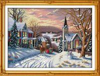 Snowscape cenário home decor pintura, Handmade Cross Stitch Bordado conjuntos de costura contados impressão sobre tela DMC 14CT / 11CT