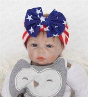 Девочки оголовьем Американский флаг уха кролика диапазона волос Национальный День независимости День Полосатый Звезда младенца Лук оголовье аксессуары для волос D52704