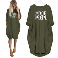 2019 New Fashion T- shirt For Women Pocket Dog Mom Letters Pr...