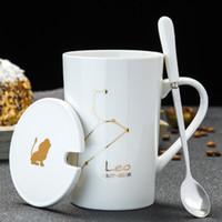 12 별자리 스푼 뚜껑 화이트 도자기 조디악 밀크 커피 컵 450ML 물 Drinkware와 크리 에이 티브 세라믹 머그잔