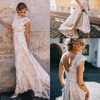 Champagne 2020 Dentelle de Bohème Robes de mariée Une ligne mancherons Backless Bow Sash Plus Size Wedding Robes de mariée Robes de Novia Q58