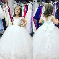 Lovely Princess Flower Girls Dresse With Back Bow Sash Ribbon Floor Length First Cummunion Dreses For Toddler Cheap