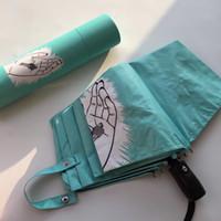 جديد كلاسيكي الأزرق مظلة قابلة للطي للنساء الصيف 2 أنماط الأزرق أضعاف الأزياء مظلة مظلة المطر مظلة VIP هدية مع جولة هدية مربع