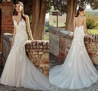 New Sexy Spaghetti cinghie Lace Mermaid Abiti da sposa 2019 Estate Backless senza maniche in tulle Appliques Beach Boho Wedding Abiti da sposa