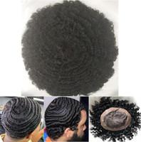 Afro Curl Wave 360 Mono con reemplazo Bisoñes hombres peluca llena del cordón Virgen india Postizos de cabello humano NPU Bisoñes Hombres de Negro para los hombres