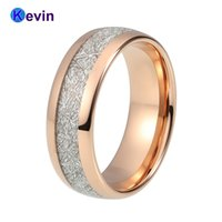 Oro rosa para mujer para hombre Banda de boda Anillo de tungsteno Cúpula banda Meteorito blanco incrustación J190716