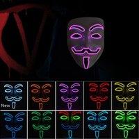 10 цветов V для Vendetta Маски зарева СИД маски Halloween маски партии маскарад танец декорированные Страшные маски ZZA1092