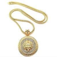 Mens Hip Hop Collana lunga collana oro Gold Chains Slver Medusa Avatar Iced Out Collana Diamante PCE PENDANT Designer Collane Donne Uomo 2PCS