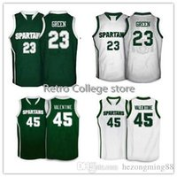New Arrival. Michigan State Spartans  23 Draymond Green  45 Denzel  Valentine Men s Embroidery Stitched Basketball Jersey Custom ... b42d7414e