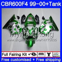 Body + Tank voor HONDA CBR600 F4 CBR 600 F4 FS CBR600 F 4 287HM.24 CBR600F4 99 00 CBR600FS CBR 600F4 1999 2000 BIJGEN GROENE ZILVEREN HOT KIT