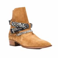 Venda-Man Hot Fashion Show Wyatt Harness botas de vaqueiro Bandana Slp Suede Bandana Strap Buckle Ankle Boots Kanye West SLP Shoes