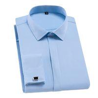Yeni Geliş 2020 Fransız Manşet Erkek Gömlek Elbise Beyaz Gömlek Uzun kollu Man Biçimsel Katı Slim Fit Man camisa masculin DA280