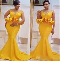 African Yellow Mermaid Prom Dresses Sexy Appliques Peplum Me...